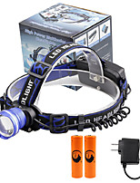 U'King® ZQ-X837BL#5-US CREE XML T6 Zoomable 180 Rotate 3Modes Headlamp Bike Light Kits with Rear Safety LED