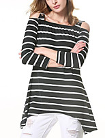 Women's Casual/Daily Street chic Spring Fall T-shirt,Striped Off Shoulder Long Sleeve Black Polyester Medium