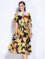 Для женщин На выход Очаровательный С летящей юбкой Платье Цветочный принт,Рубашечный воротник До колена С короткими рукавами Желтый