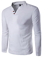 Men's Plus Size Casual/Daily Work Simple Active Summer T-shirt,Solid V Neck Long Sleeve Cotton Linen Rayon Thin