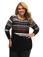 Women's Striped Contrast Splice Plus Size Top