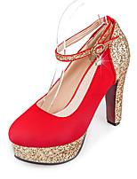 Heels Spring Summer Fall Winter Club Shoes Synthetic Office & Career Party & Evening Dress Chunky Heel Sequin Black Red