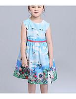 Vestido Chica de Playa Un Color Algodón Sin Mangas Verano