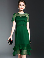 OYCP Women's Going out Cute A Line DressSolid Round Neck Midi Short Sleeve Polyester Spring Summer Mid Rise Inelastic Medium