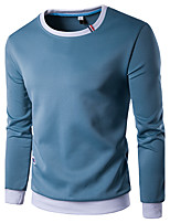 Men's Casual/Daily Sports Going out Sweatshirt Solid Round Neck Micro-elastic Cotton Long Sleeve Spring Fall