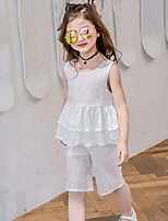 Girls' Formal Solid Sets,Cotton Summer Sleeveless Clothing Set