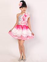 Latin Dance Dress For Girls Children's Performance Polyester Splicing 4 Pieces Sleeveless High Ballet Dance Dress Headpieces Bracelets