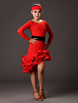 Latin Dance Dresses Girls Performance Milk Fiber 1 Piece Long Sleeve High Scarf
