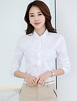 Casual/Daily Formal Work Simple Street chic Shirt,Embroidered Stand Long Sleeve Pink White Polyester