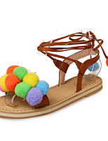 Women's Sandals Spring Summer Fall Club Shoes Ankle Strap Leatherette Outdoor Dress Casual Flat Heel Lace-up Pom-pom
