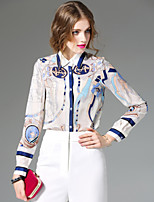 Women's Going out Simple Spring Summer Shirt,Print Notch Lapel Long Sleeve Special Leather Types