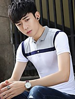 New spring and summer 2017 men's short-sleeved T-shirt lapel polo shirt Slim teen hit color T-shirt