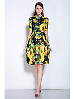 MARY YAN&YU Women's Going out Cute Swing DressFloral Shirt Collar Above Knee Short Sleeve Green Polyester Spandex Spring Summer Mid Rise