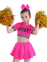 Fantasias para Cheerleader Roupa Crianças Para Meninas Actuação Algodão Recortes 2 Peças Manga Curta Alto Saia Topo