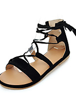 Sandals Spring Summer Fall Ankle Strap PU Casual Flat Heel Lace-up Black Brown Red
