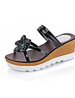 Sandals Spring Summer Fall Comfort PU Dress Casual Flat Heel Wedge Heel Applique Black Gold Sliver