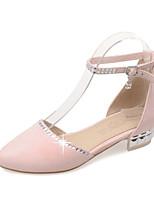 Бежевый Серый Розовый-Для женщин-Для офиса Для праздника Повседневный-Флис-На толстом каблуке-С ремешком на лодыжке Обувь для девочек