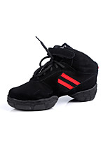 Customizable Unisex Shoes Dance Shoes Fabric Synthetic Fabric Synthetic Dance Sneakers Split Sole Sneakers Low Heel Performance Red/Black