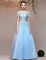 Formal Evening Dress A-line Jewel Floor-length Lace Satin Tulle with Beading Crystal Detailing Embroidery Flower(s) Lace