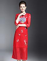 Для женщин На каждый день Шинуазери (китайский стиль) Оболочка Платье Вышивка,Круглый вырез Средней длины Рукав ½ Красный Желтый Полиэстер