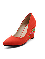 Women's Heels Spring Summer Fall Comfort Light Soles Embroidered Shoes Fleece Wedding Office & Career Party & Evening Wedge Heel Flower