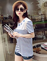 Going out Casual/Daily Holiday Vintage Simple Cute T-shirt,Striped Geometric Round Neck Short Sleeve Blue Cotton