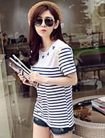 Tee-shirt Femme,Rayé Géométrique Sortie Décontracté / Quotidien Vacances Vintage simple Mignon Manches Courtes Col Arrondi Bleu Coton