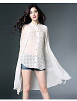 Women's Going out Beach Street chic Spring Shirt,Patchwork Embroidered Round Neck ½ Length Sleeve Silk Thin