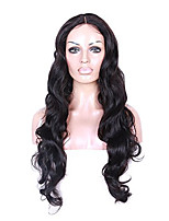 Полная кружевная волна тела человеческие виргинские волосы 130% плотность натуральный черный парик цвета с детскими волосами для черных