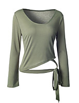 Women's Casual/Daily Street chic Spring Fall T-shirt,Solid Round Neck Long Sleeve Red Gray Green Cotton Medium