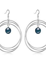 Hoop Earrings Earrings Set Pearl Pearl Alloy Natural Jewelry White Black Dark Blue Gray Copper Jewelry Daily 1 pair