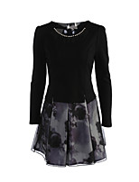 Women's Going out Street chic A Line DressSolid Round Neck Above Knee Long Sleeve Black  Polyester Fall Mid Rise