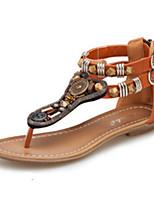 Women's Sandals Spring Summer Fall Comfort Novelty PU Outdoor Office & Career Dress Casual Flat Heel Beading Zipper Walking