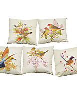 Set of 5 American country retro flowers and  birds  Linen Pillowcase Sofa Home Decor Cushion Cover (18*18inch)