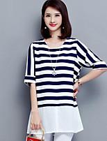 Dames Eenvoudig Zomer T-shirt,Casual/Dagelijks Grote maten Gestreept Ronde hals Halflange mouw Blauw Zwart Polyester Medium