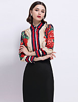 Women's Going out Formal Work Sexy Sophisticated Spring Shirt,Floral Shirt Collar Long Sleeve Silk Thin