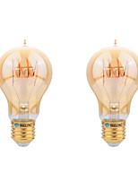 BRELONG E27 4W A60 intage Flexible/BENT Spiral Lamp LED Curved Filament Bulb - Amber Tinted Glass Light Bulb 2pcs
