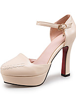 Women's Heels Spring Summer Fall PU Office & Career Dress Party & Evening Chunky Heel Rhinestone Black Beige Red