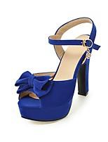 Women's Sandals Summer Comfort Ankle Strap Fleece Wedding Dress Party & Evening Chunky Heel Bowknot Buckle Black Beige Fuchsia Blue