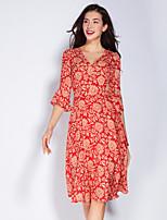 Для женщин На каждый день Очаровательный А-силуэт Платье Цветочный принт,V-образный вырез Средней длины Рукав ½ Красный Серый Полиэстер