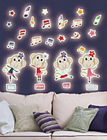 Cartoon Cute Monkeys Luminous Wall Stickers Vinyl Material Home Decoration