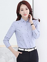 Casual/Daily Formal Work Simple Street chic Shirt,Print Shirt Collar Long Sleeve Blue White Polyester