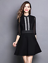 MARY YAN&YU Women's Casual/Daily Cute A Line DressSolid Round Neck Above Knee  Sleeve Pink Red Black Green Polyester Spring Summer Mid Rise