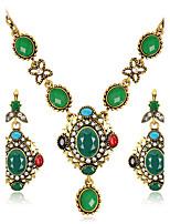 Juego de Joyas Collares con colgantes Pendientes Set Moda Euramerican Resina Brillante Legierung Forma Redonda1 Collar 1 Par de