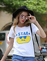 Women's Casual/Daily Active Spring Summer T-shirt,Letter Crew Neck Short Sleeve White Cotton Medium