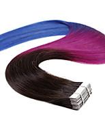 20pcs 50g neitsi 20 '' ombre trama de pele fita em linha reta em extensões de cabelo humano T1b qualidade de grau 5a / roxo / azul #