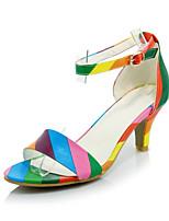 Sandalen-Büro Kleid Lässig-Samt maßgeschneiderte Werkstoffe Kunstleder-Stöckelabsatz-Komfort Club-Schuhe-Schwarz Rosa Regenbogen