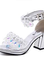 Sandals Summer Comfort Rubber Dress Chunky Heel Crystal Silver Gold