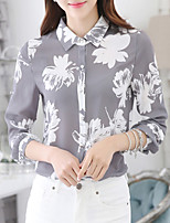 Women's Work Street chic Spring Summer Shirt,Print Shirt Collar Long Sleeve Polyester Thin