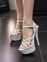 Sandals Summer Club Shoes PU Dress Stiletto Heel Buckle Black White